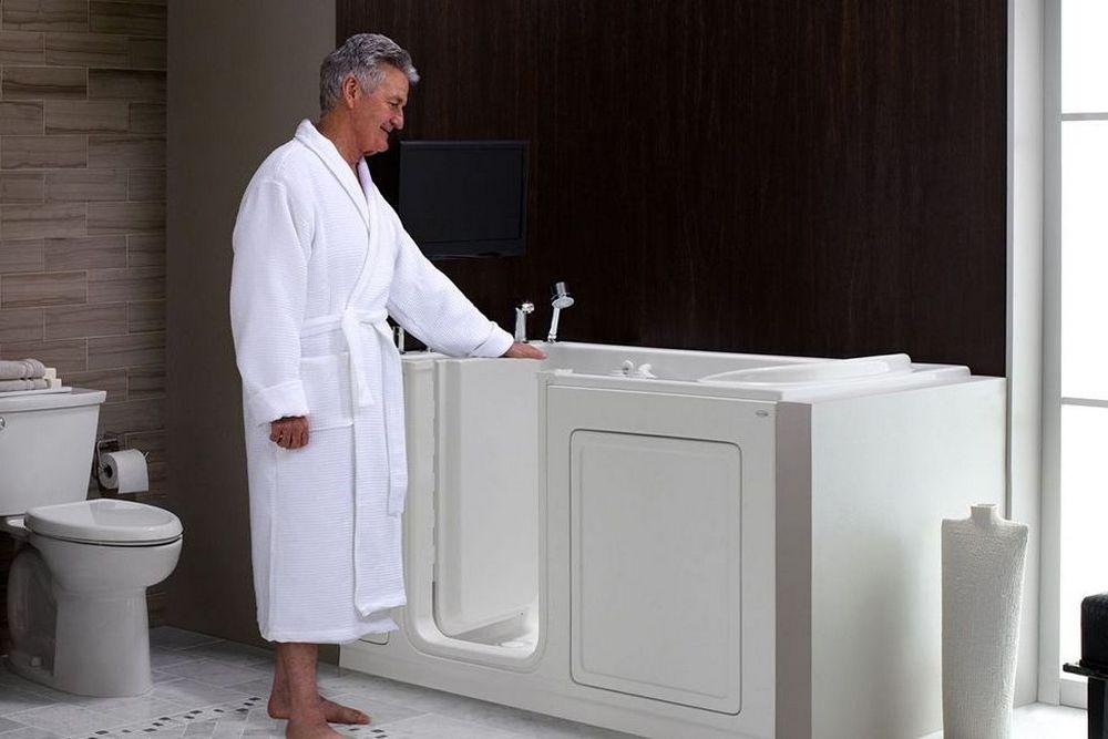 Senior man next to american-Standard-Walk-In-Tubs