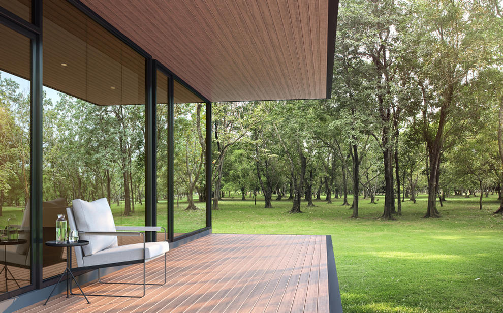 Outdoor view of home with dual pane windows