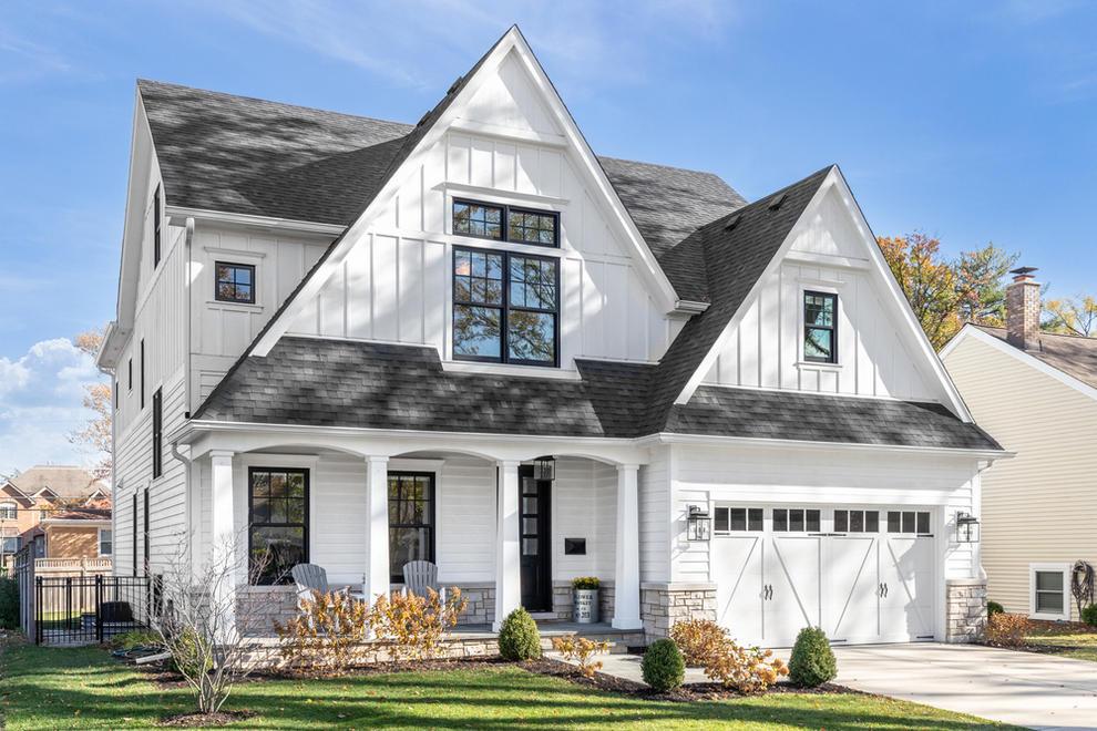 White Modern Farmhouse with Black Window Frames