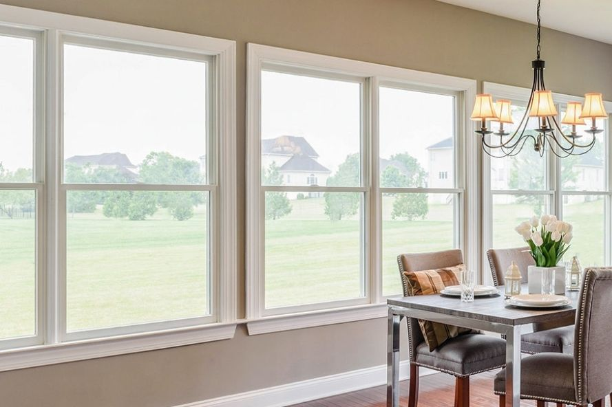 Dining room with single hung windows