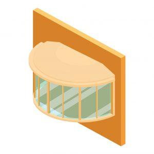Illustration of bow windows