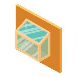 Illustration of garden windows