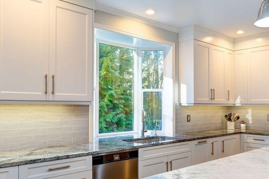 Kitchen with bay windows