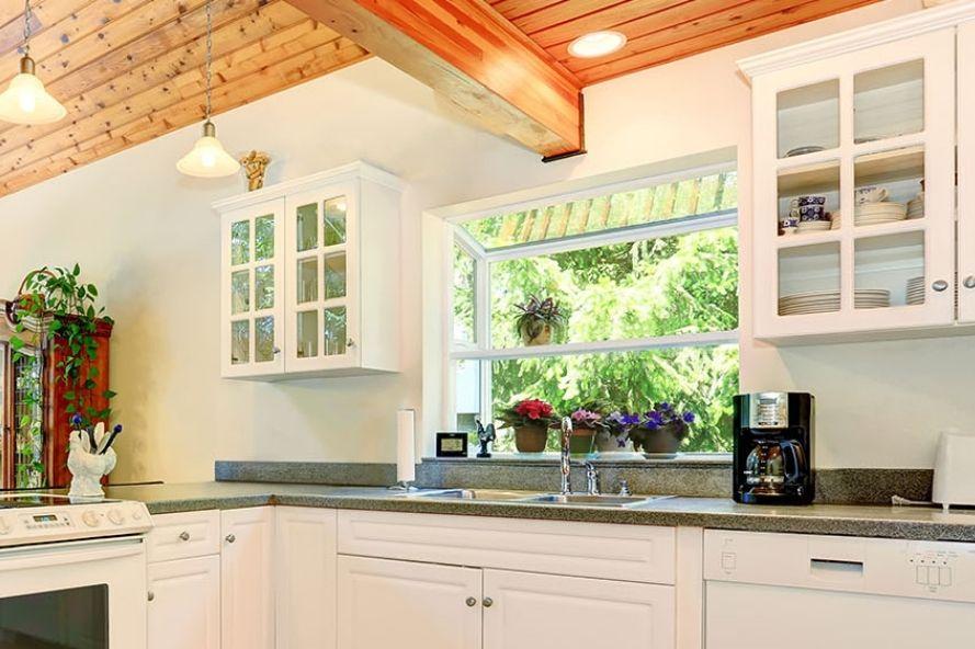 Kitchen with garden windows