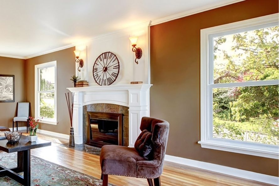 Living room with double hung windows