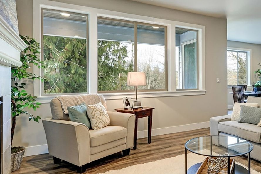 Living room with double slider windows