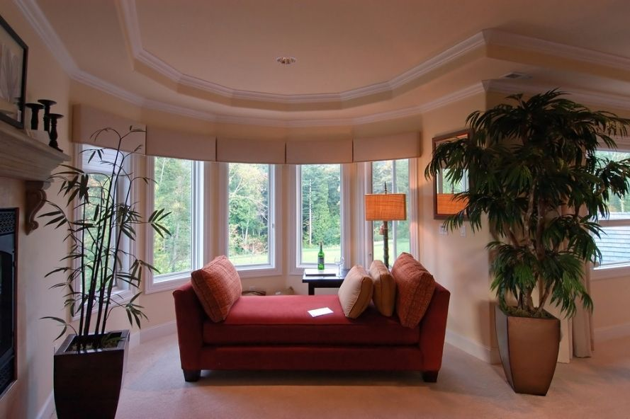 Luxury home with bow windows