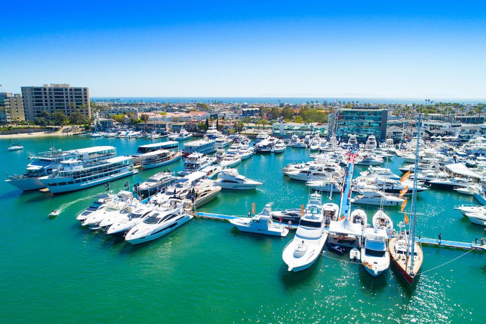 Aerial view of Newport Beach harbor